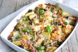 Patate gratin broccoli cipolle